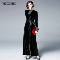 Fashion Womans Spring Jumpsuits Casual Female Velour Full Jumpsuit V neck OL Elegant Black Loose pants Jumpers