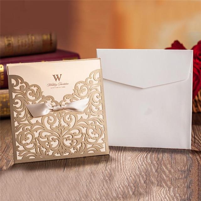10pcs Luxury Laser Cut Wedding Invitations Cards Envelope Vintage