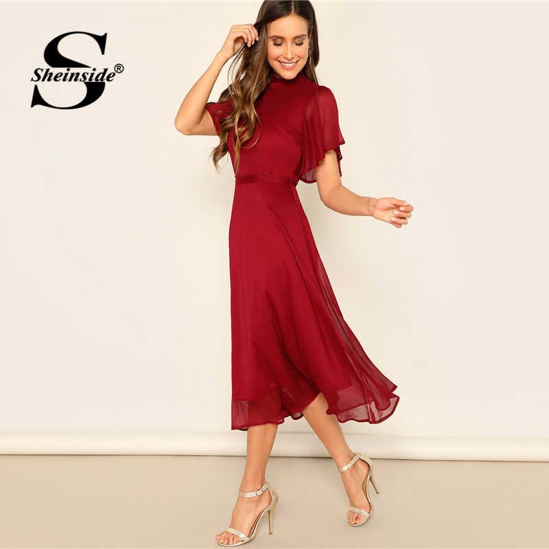 Sheinside Elegant Flutter Sleeve Chiffon Party Dress Women 2019 Summer Backless Lace Up Midi Dresses Ladies Solid A Line Dress
