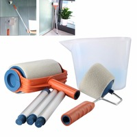 Multifunction 6Pcs Paint Roller Decorating Painting Brush Tool DIY Set Kit With Cup Aluminum Tube