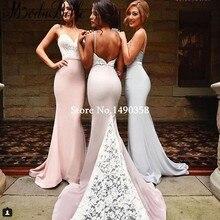 2016 Western Pink Lace Mermaid Bridesmaid Dress Two Tone Silver Grey Low Back Sexy Maid Of Honor Vestidos De Festa De Casamento