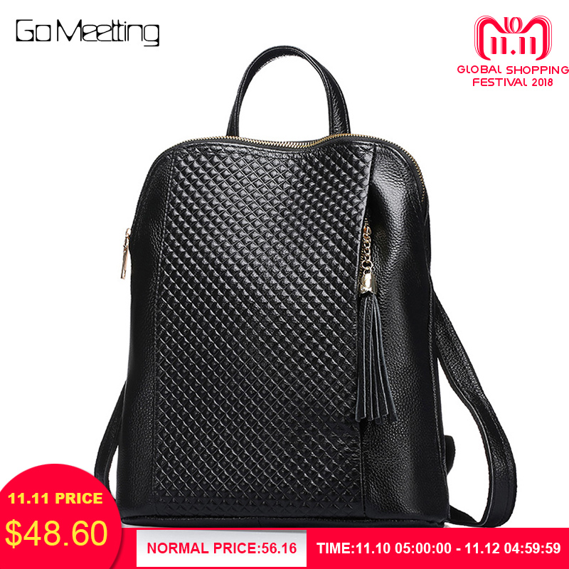 купить Go Meetting High Quality Genuine Leather Backpack Female Backpacks School Shoulder Bag Mochila Feminina Bagpack New Arrival по цене 3861.69 рублей