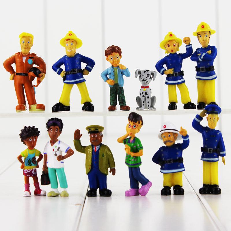 12 шт./компл. фигурки героев Fireman Sam, игрушки 3-6,3 см, Симпатичные Мультяшные ПВХ Куклы