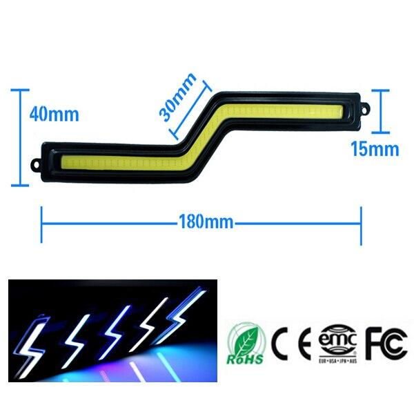 2pcs/lots 18cm Star War Laser Style Zig Zag Cob Led Black Drl Daytime Running Lights