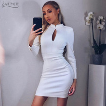 Adyce 2017 Autumn New Arrive Luxury White Hollow Out Mini Dress Stand Neck Long Sleeve Celebrity Evening Party Dresses Vestidos