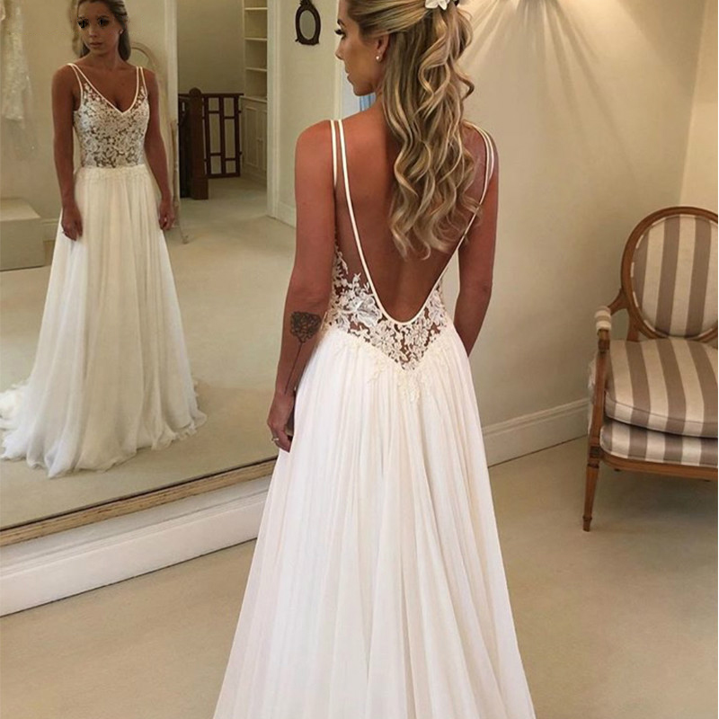 Illusion V neck Beach Wedding Dresses Country Garden Dresses for Wedding Sleeveless Sexy Backless Appliqued Western