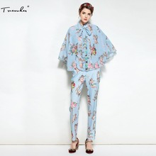 Truevoker Spring Designer Set Suit Women s High Quality Long Sleeve Blue  Angle Printed Blouse With Cloak + Long Pant Suit-in Women s Sets from  Women s ... 4dbfaab2690c