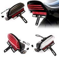 Motorcycle Smoke Tri Bar Rear Fender Brake Tail LED Lamp Lighting bracket mount Fit For Harley Dyna FXDF Fat Bob 2008 2017