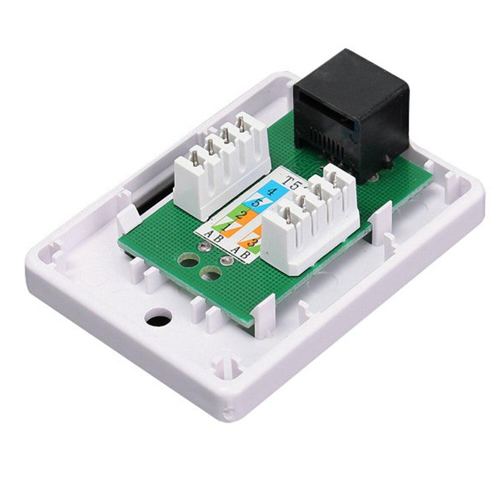 RJ45 White Extension Cable Desktop Unshielded Information Module Network Connector Single Port Ethernet Junction Box