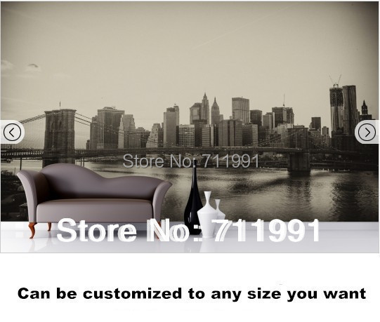 Free shipping Sepia Brooklyn Bridge Wall Mural wallpaper brooklyn bridge pop up card 3d new york souvenir cards
