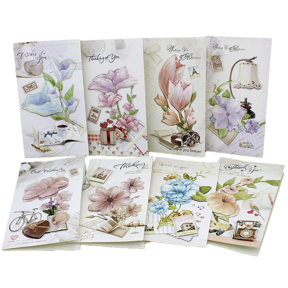 TAOS 8 PCS Assorted Styles Exquisite Flower Greeting Cards Holiday Blessing Cards with Envelops for Christmas Birthday 30pcs in one postcard take a walk on the go dubai arab emirates christmas postcards greeting birthday message cards 10 2x14 2cm