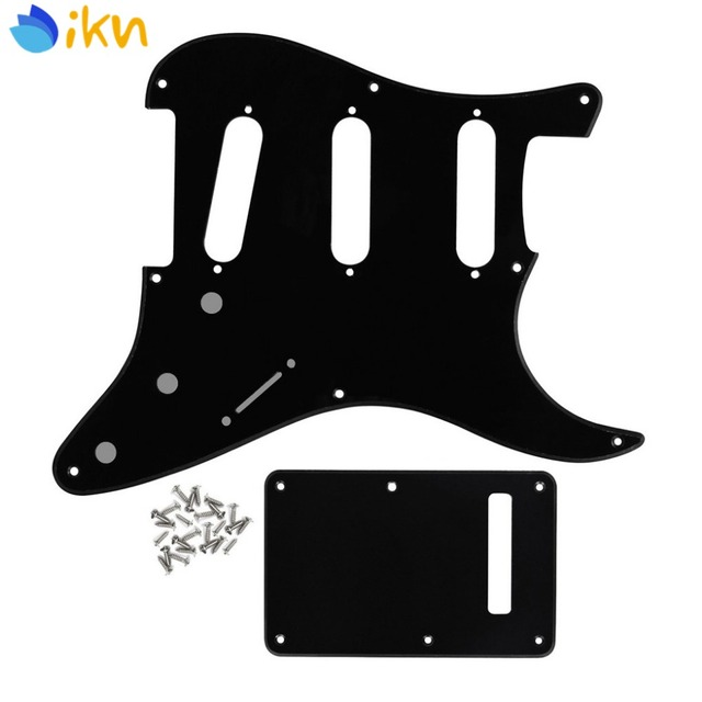 NEW Vintage 8 Hole Strat Pickguard SSS & Back Plate Tremolo Cover & Screws for Electric Guitar Parts Black 1Ply