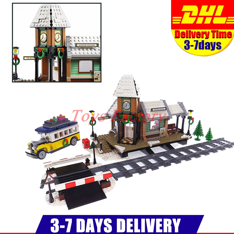 2018 DHL LEPIN 36011 Genuine 1010Pcs Creative Series The Winter Village Station Set Building Blocks Bricks Educational Toys Gift lepin 36010 genuine creative series the winter village market set legoing 10235 building blocks bricks educational toys as gift