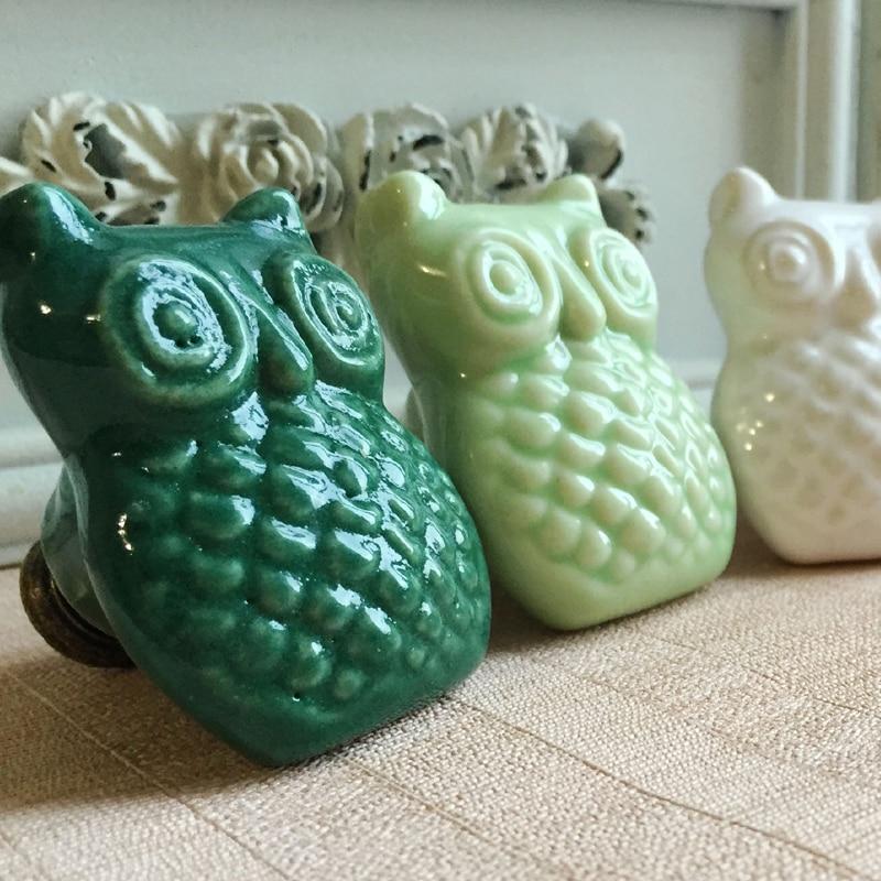 Owl Shape Ceramic Cabinet Knobs, Drawer Pulls & Handles Children\'s ...