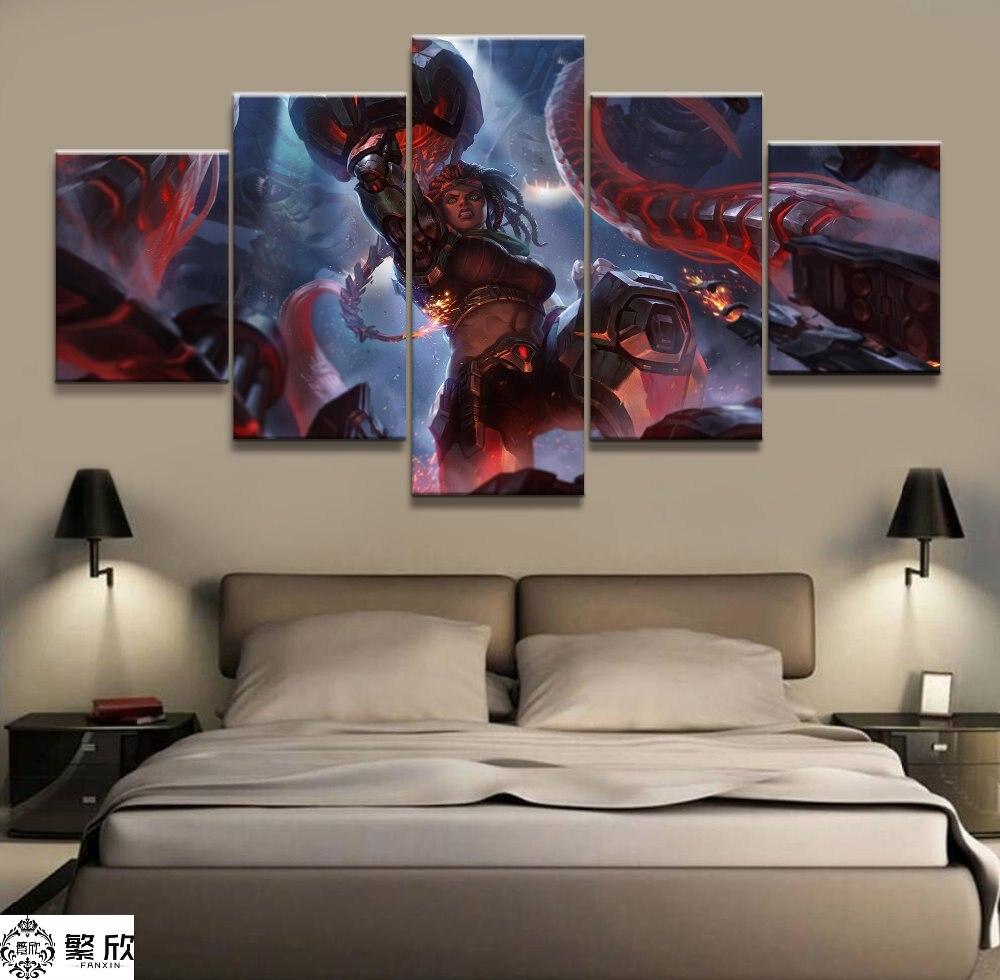 5 panneau LOL League of Legends Illaoi Jeu Toile Imprimée Peinture Pour Le Salon Mur Art Home Decor HD Image Œuvres D'art affiche