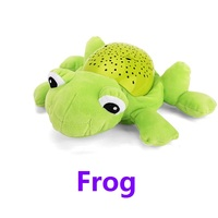 Plush stuffed comforting toys baby toys Hypnotic projection flashing and music animal dolls (frog bee hippo elephant butterfly)