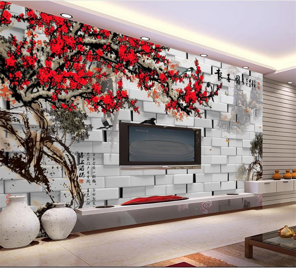 3d wallpaper custom photo mural living room brick wall plum flower painting sofa TV background non-woven wallpaper for wall 3d 3d wallpaper for walls custom wall mural non woven wall paper modern world map living room sitting room sofa backdrop home decor
