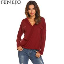 FINEJO Women Tshirts Casual V Neck Front Wrap Cross Elastic Ruched Hem Long Sleeve Tee Tops Pullover Slim T-Shirt Female tShirt elastic hem surplice wrap top