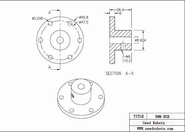 Unihobby Uh18008 8mm Motor Shaft Coupling Mecanum Wheel Motor Shaft