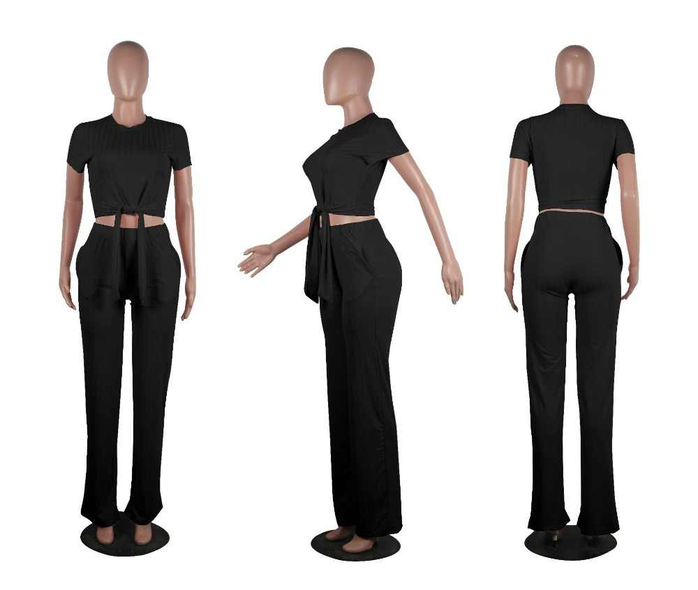 01adc3538d5 ... INMOTENG 2019 New Women Knitted Short Sleeve Tie Up Sweater Straight Long  Pants Suits Two Piece