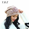 Ladies' Sexy Spring Fall Hats Lace Flower Bling Cap Elegant  Vintage Skullies Feminina Beanies Hats for Women 2016 Fashion 055