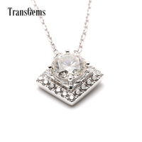 Luxury 1 Ct Carat EF VVS Moissanite 18K White Gold Necklace Pedant With Simualted Diamonds Accents