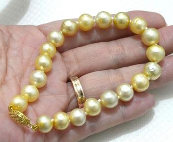 VERY CHARMING 11-12MM SOUTH SEA YELLOW PEARL BRACELET 7.5-8 INCH jewerly