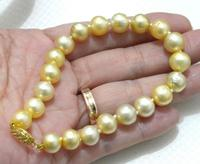 VERY CHARMING 11 12MM SOUTH SEA YELLOW PEARL BRACELET 7.5 8 INCH jewerly