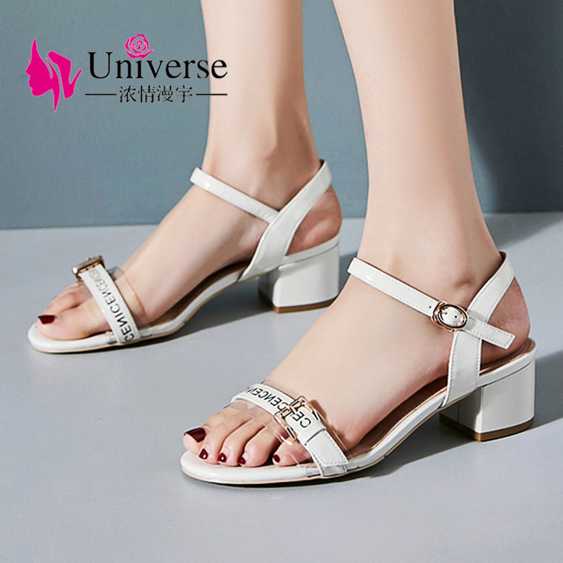 Universe Genuine Leather Women Summer Sandals Ankle-wrap High Heels Sandals Women Thick Heel Ladies Sandals Peep Toe 4.5cm J045Universe Genuine Leather Women Summer Sandals Ankle-wrap High Heels Sandals Women Thick Heel Ladies Sandals Peep Toe 4.5cm J045