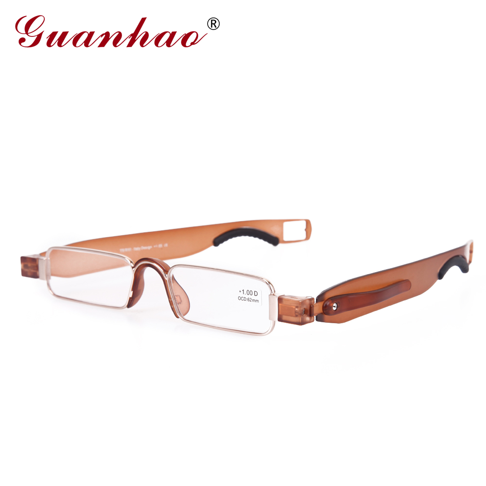 Guanhao Retro Rimless Rotate Folding Läsglasögon TR90 Frame Resin Lens Hyperopia Glasses Portable Eyeglasses With Case