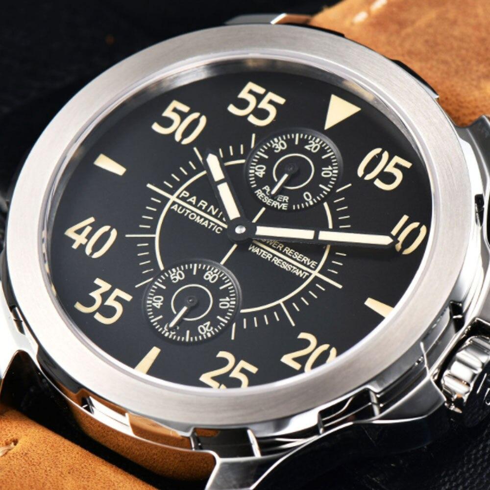 44mm Parnis Black Dial SS Case Leather strap Men Mechanical Wrist Watch Power Reserve Automatic mechanical men's Watch цена и фото