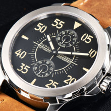 44mm Parnis Black Dial SS Case Leather strap Men Mechanical Wrist Watch Power Reserve Automatic mechanical men's Watch