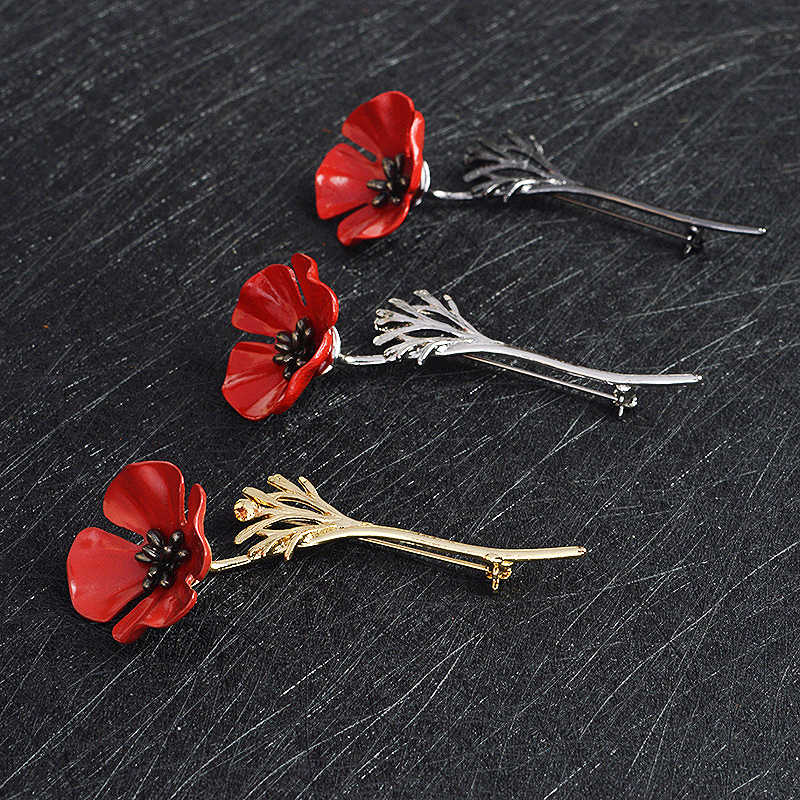 Fashion Red Alloy Flower Brooch Pins Metal Scarf Pins Business Suit Graceful Women Brooches Clothing Boutonniere