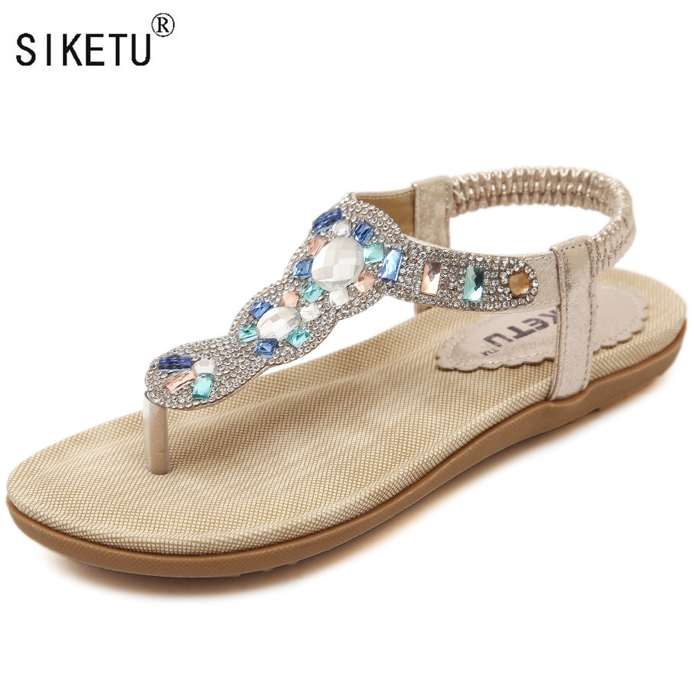 Women's sandals with bling - Women Shoes 2017 New Summer Fashion Women Sandals Rhinestone Flats With Leisure Beach Shoes Siketu Brand