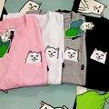 Ripndip Camiseta 1:1 Harajuku Medio Dedo Gato Bolsillo En El Bolsillo Camiseta de La Manera Hombres Mujeres Patinetas Impresión Divertida Ripndip T camisa
