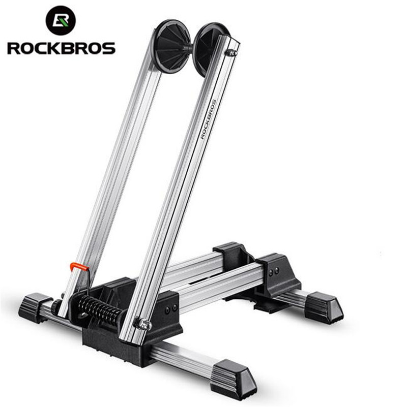 ФОТО ROCKBROS Bycle MTB Mountain Bike Parking Racks Aluminum Alloy Portable Maintenance Support Frame Folding Display Repair Stand