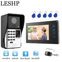 Видеодомофон 7 дюймов TFT ЖК дисплей монитора видео телефон двери MIC отпечатков пальцев/код разблокировки крытый монитор открытый Камера с RFID