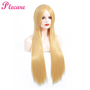 Image 2 - Plecare Long Blonde Wig Ombre Synthetic Wig  Heat Resistant  Pruiken Wig For Black/White Women Cosplay Wig