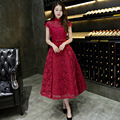 2016 Chinese Style Burgundy Lace Appliqued A-line Tea-Length Elegant Evening Dresses Party Gown Formal Party Robe De Soiree BK51