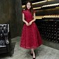 2016 Estilo Chino Del Cordón de Borgoña Appliqued Una Línea de Té de Longitud Vestidos de Noche Elegantes Del Partido Vestido de Fiesta Formal Robe De Soirée BK51