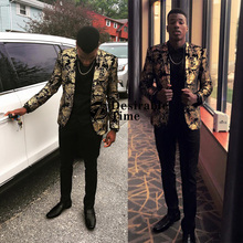 New Arrival Gold Blazer  Slim Blazers 2018 Single Breasted Men Suit Jacket Plus Size M-6XL