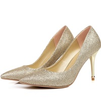 Pointed Toe High Heels Women Pumps Glitter High Heel Shoes Woman Sexy Wedding Party Shoes Gold