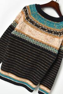 Image 5 - Runway Womens sweater sets 2019 Autumn Lurex Striped Loose Pullver Sweater + High Waist Mini Knitted skirt Women 2 piece Set