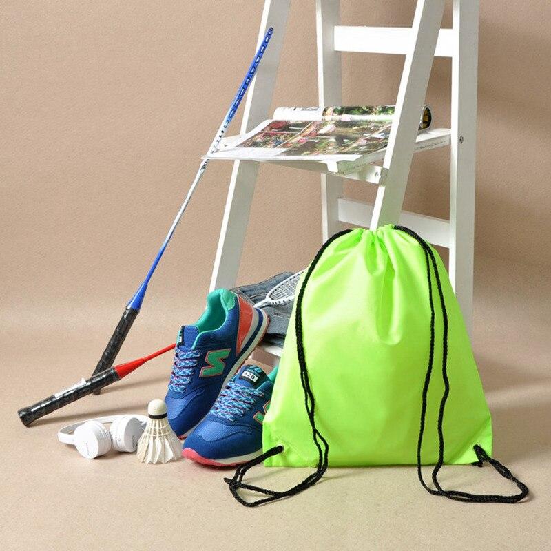 Gym Storage Bag Nylon Sports Drawstring Riding Backpack Shoes Container Bag Organizer Storage Basket Waterproof Color Random Storage Baskets