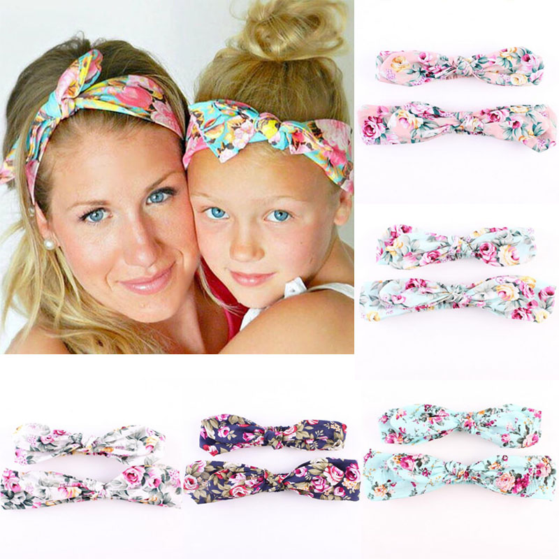 2pcs/set Mother and Kids Headband Vintage Floral Flowers Hairband Bow Knot Hair Bands Women Girls Headwear Turban Accessories 51mm dc 12v water oil diesel fuel transfer pump submersible pump scar camping fishing submersible switch stainless steel