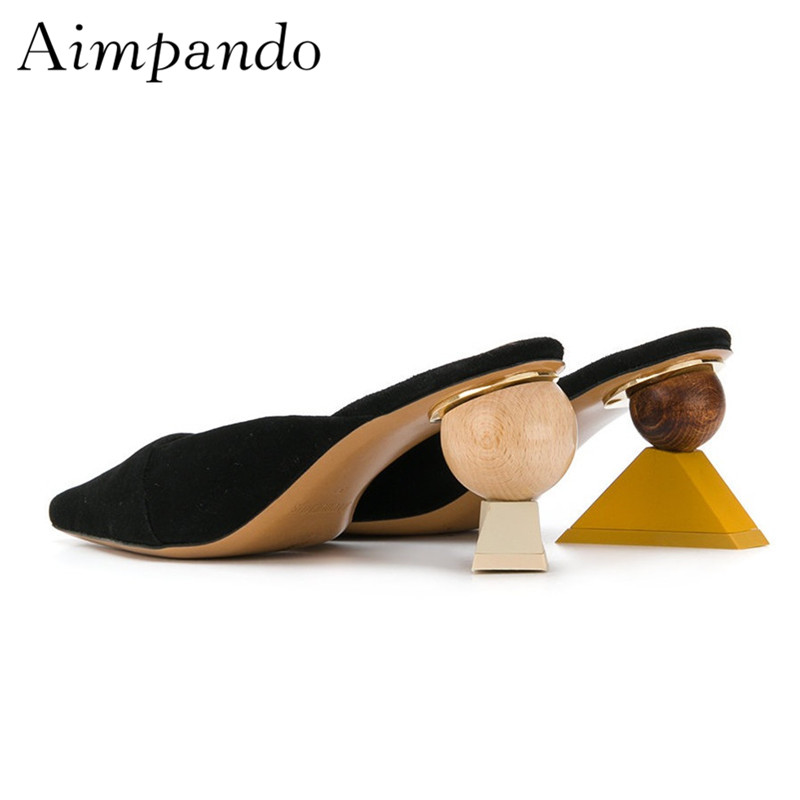 Unique Building Block Heel Women Slippers Individual Square Toe Suede Shallow Mules Asymmetrical Strange Heel Shoes