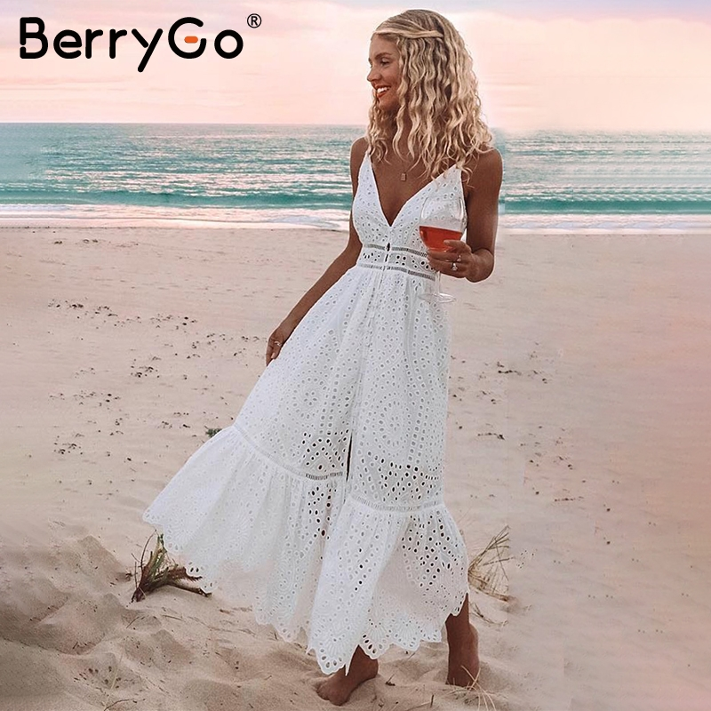 BerryGo White pearls sexy women summer dress 2019 Hollow out embroidery maxi cotton dresses Evening party long ladies vestidos semi formal summer dresses