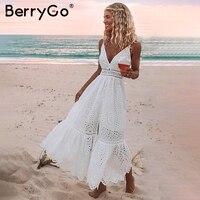 BerryGo/белое сексуальное женское летнее платье с жемчугом 2019, с вышивкой, макси, хлопковые платья для вечеринок, длинные женские платья