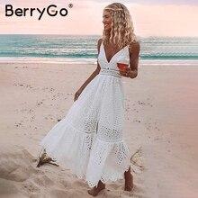 BerryGo perlas blancas sexy vestido de verano de mujer 2019 ahuecado bordado maxi vestidos de algodón noche Fiesta vestidos largos de mujer