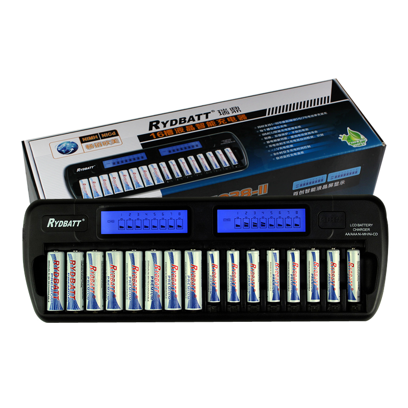 New Top 16 Slots LCD Smart Battery Charger AA AAA Ni-MH Ni-Cd 16 bay 16 Slot 16 Bank Rechargeable Batteries Smart LCD Display